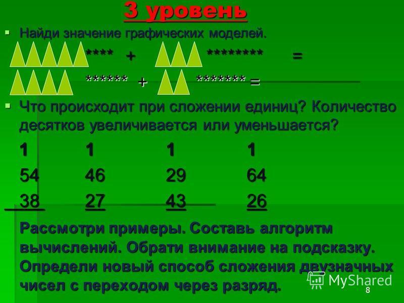 8 3 уровень Найди значение графических моделей. Найди значение графических моделей. ****+******** = ****** + ******* = Что происходит при сложении единиц? Количество десятков увеличивается или уменьшается? Что происходит при сложении единиц? Количест