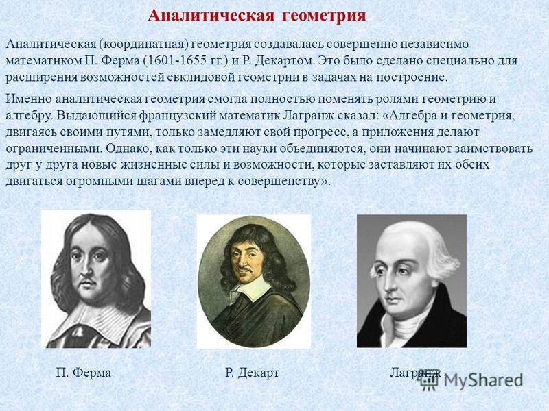 Аналитическая геометрия Аналитическая (координатная) геометрия создавалась совершенно независимо математиком П. Ферма (1601-1655 гг.) и Р. Декартом. Это было сделано специально для расширения возможностей евклидовой геометрии в задачах на построение.