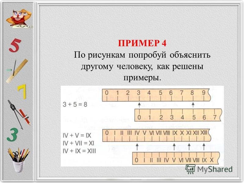ПРИМЕР 4 По рисункам попробуй объяснить другому человеку, как решены примеры.