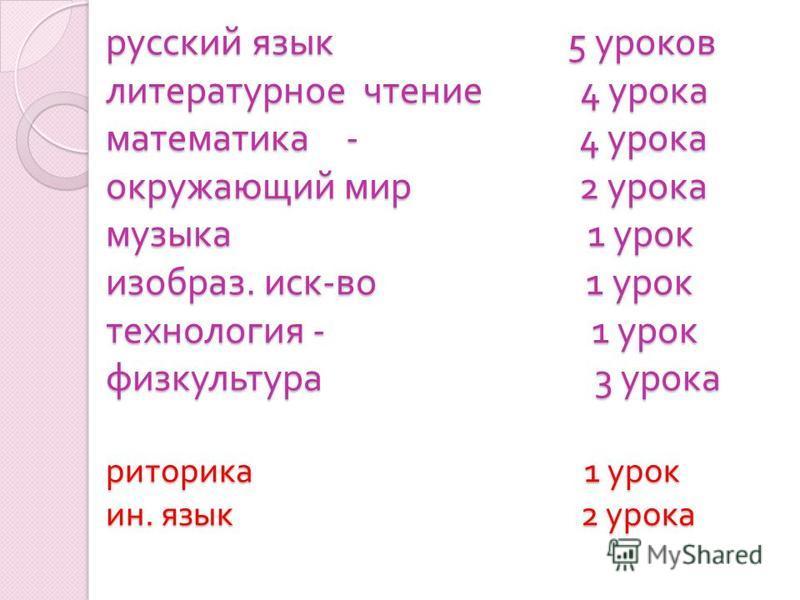русский язык 5 уроков литературное чтение 4 урока математика - 4 урока окружающий мир 2 урока музыка 1 урок изобрази. иск - во 1 урок технология - 1 урок физкультура 3 урока риторика 1 урок ин. язык 2 урока