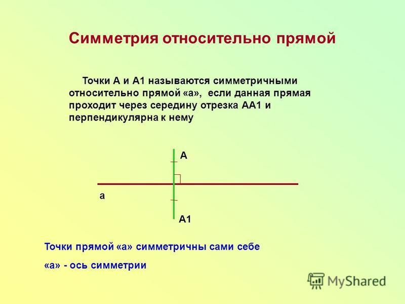 Симметрия относительно прямой Точки А и А1 называются симметричными относительно прямой «а», если данная прямая проходит через середину отрезка АА1 и перпендикулярна к нему а А А1 Точки прямой «а» симметричны сами себе «а» - ось симметрии