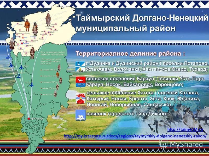 http://taimyr24. ru http://my.krskstate.ru/docs/regions/taymyrskiy-dolgano-nenetskiy-rayon/