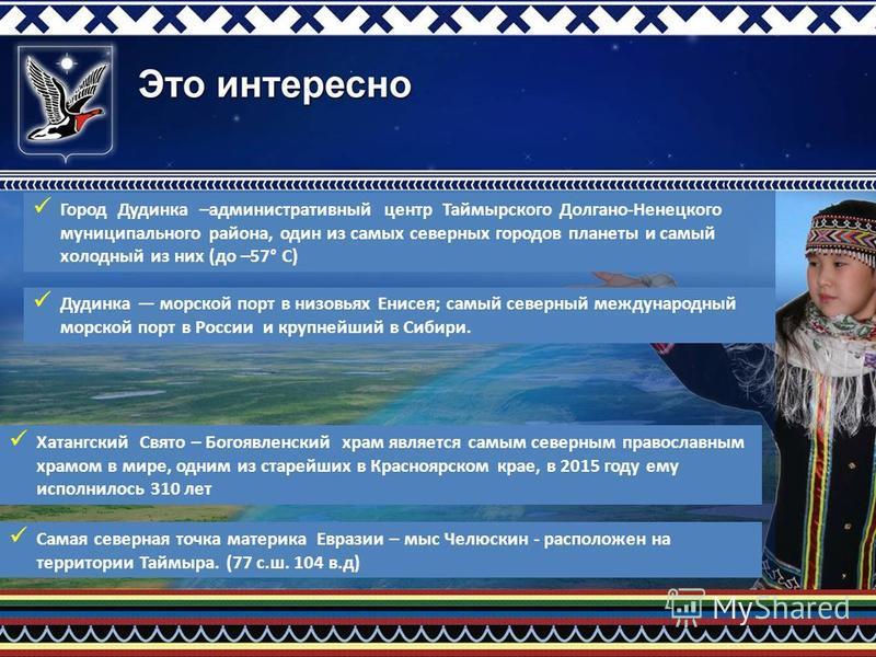 Город Дудинка –административный центр Таймырского Долгано-Ненецкого муниципального района, один из самых северных городов планеты и самый холодный из них (до –57° С) Дудинка морской порт в низовьях Енисея; самый северный международный морской порт в