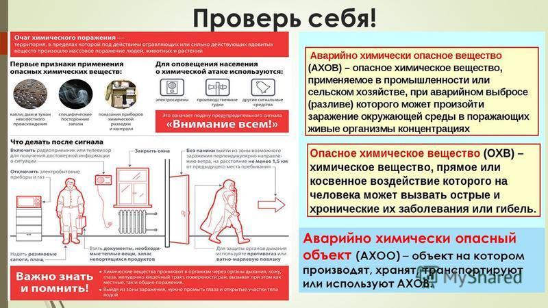Проверь себя! Аварийно химически опасный объект (АХОО) – объект на котором производят, хранят, транспортируют или используют АХОВ.