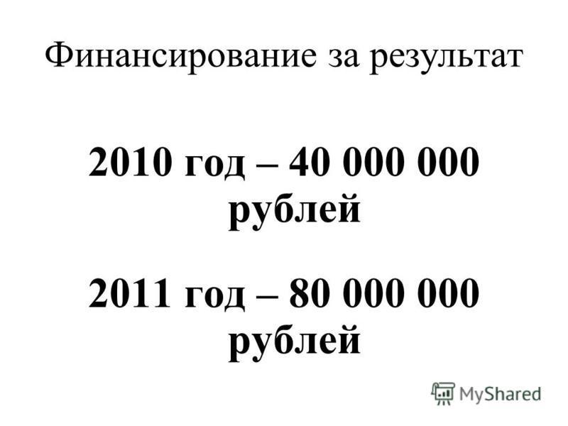 Финансирование за результат 2010 год – 40 000 000 рублей 2011 год – 80 000 000 рублей