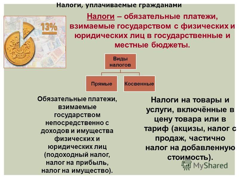 Налоги, уплачиваемые гражданами Виды налогов Прямые Косвенные Обязательные платежи, взимаемые государством непосредственно с доходов и имущества физических и юридических лиц (подоходный налог, налог на прибыль, налог на имущество). Налоги на товары и