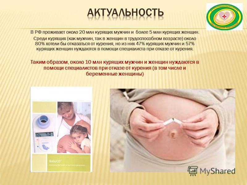 В РФ проживает около 20 млн курящих мужчин и более 5 млн курящих женщин. Среди курящих (как мужчин, так в женщин в трудоспособном возрасте) около 80% хотели бы отказаться от курения, но из них 47% курящих мужчин и 57% курящих женщин нуждаются в помощ