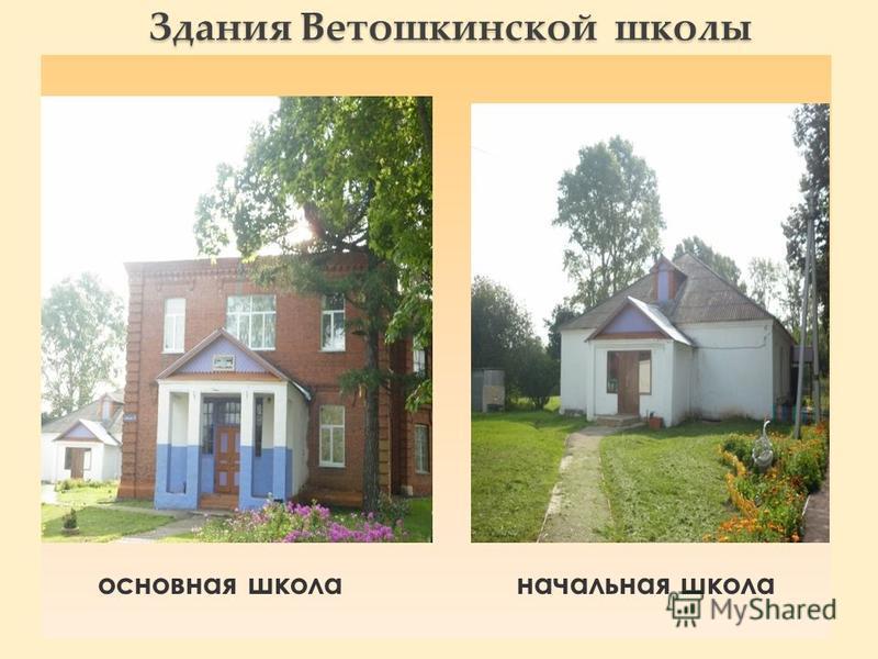 Здания Ветошкинской школы основная школа начальная школа