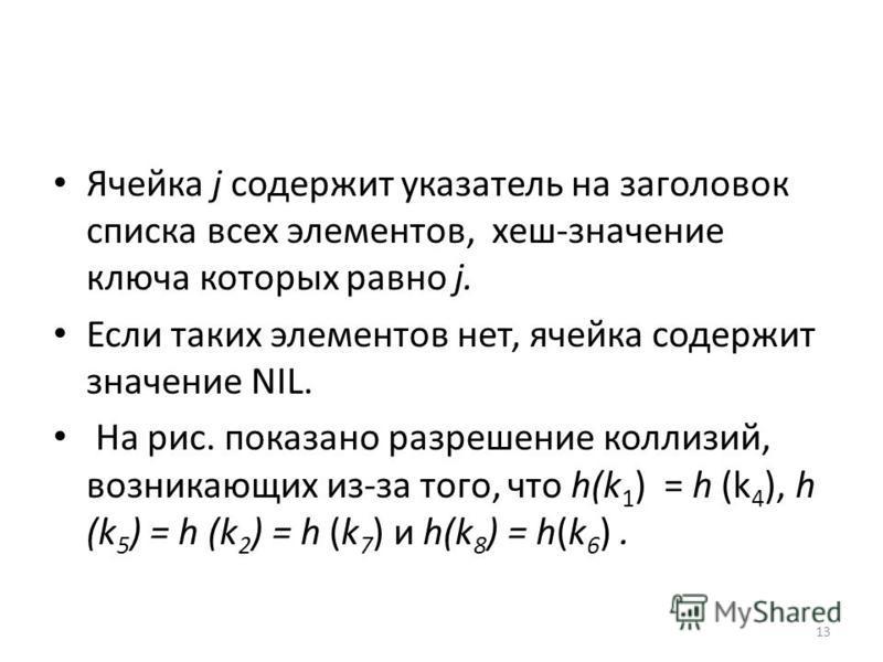 Ячейка j содержит указатель на заголовок списка всех элементов, хеш-значение ключа которых равно j. Если таких элементов нет, ячейка содержит значение NIL. На рис. показано разрешение коллизий, возникающих из-за того, что h(k 1 ) = h (k 4 ), h (k 5 )