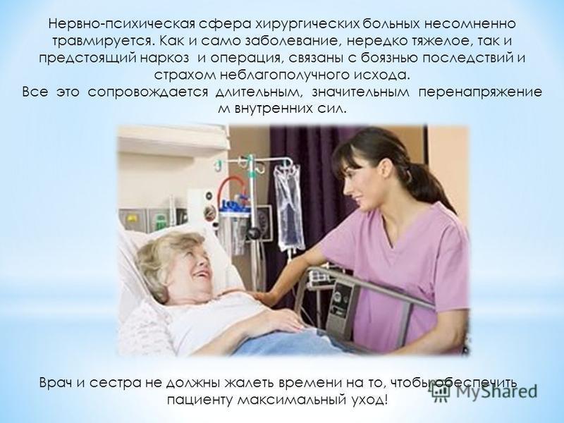 Нервно-психическая сфера хирургических больных несомненно травмируется. Как и само заболевание, нередко тяжелое, так и предстоящий наркоз и операция, связаны с боязнью последствий и страхом неблагополучного исхода. Все это сопровождается длительным,