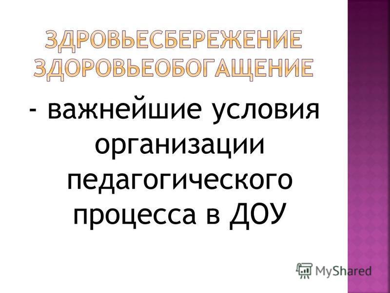 - важнейшие условия организации педагогического процесса в ДОУ