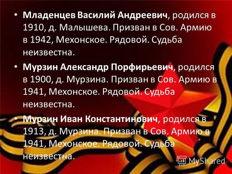 Младенцев Василий Андреевич, родился в 1910, д. Малышева. Призван в Сов. Армию в 1942, Мехонское. Рядовой. Судьба неизвестна. Мурзин Александр Порфирьевич, родился в 1900, д. Мурзина. Призван в Сов. Армию в 1941, Мехонское. Рядовой. Судьба неизвестна