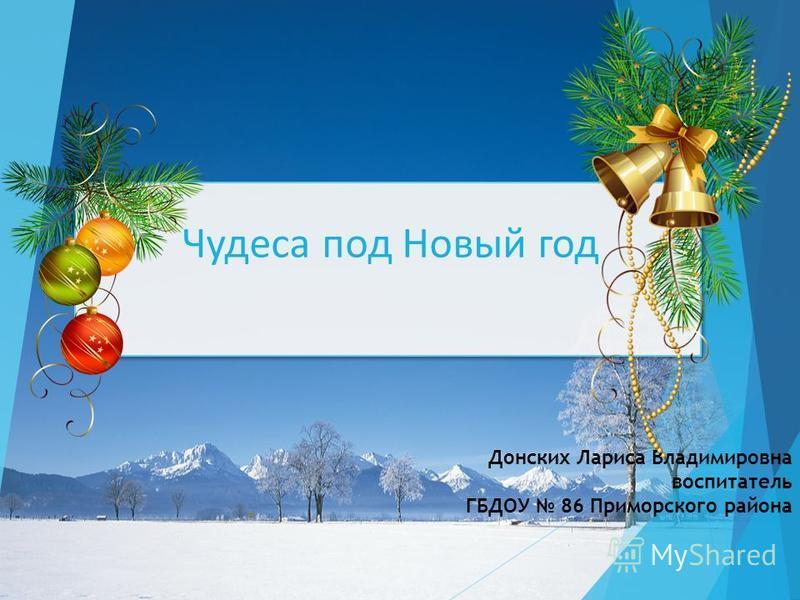 Чудеса под Новый год Донских Лариса Владимировна воспитатель ГБДОУ 86 Приморского района