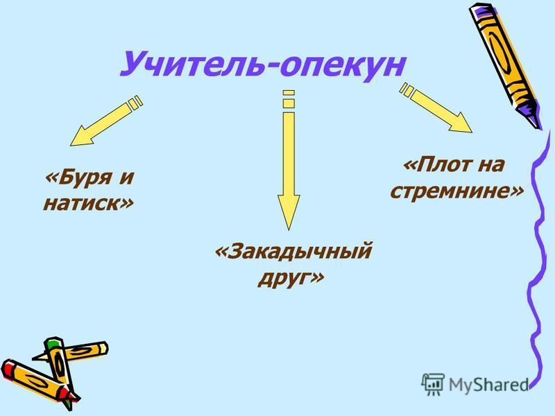 Учитель-опекун «Буря и натиск» «Закадычный друг» « Плот на стремнине»