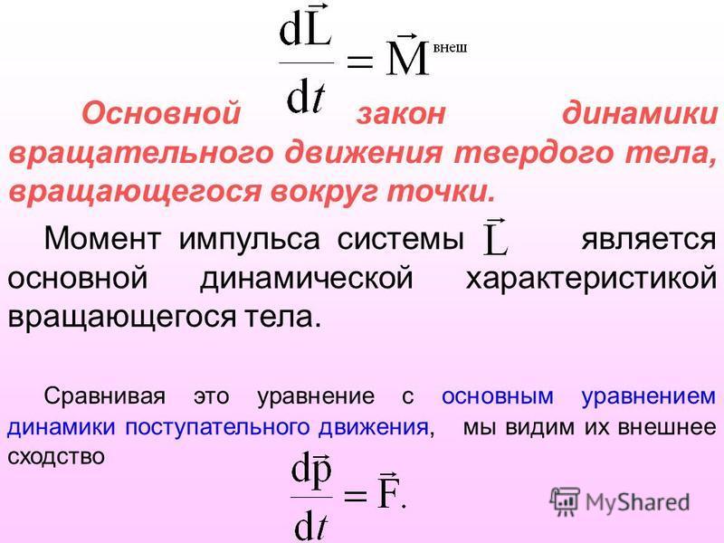 Основной закон динамики вращательного движения твердого тела, вращающегося вокруг точки. Момент импульса системы является основной динамической характеристикой вращающегося тела. Сравнивая это уравнение с основним уравнением динамики поступательного