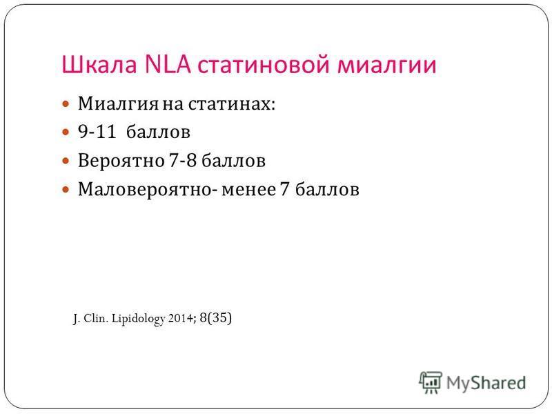 Шкала NLA статеновой миалгии Миалгия на стати нах : 9-11 баллов Вероятно 7-8 баллов Маловероятно - менее 7 баллов J. Clin. Lipidology 2014; 8(35)
