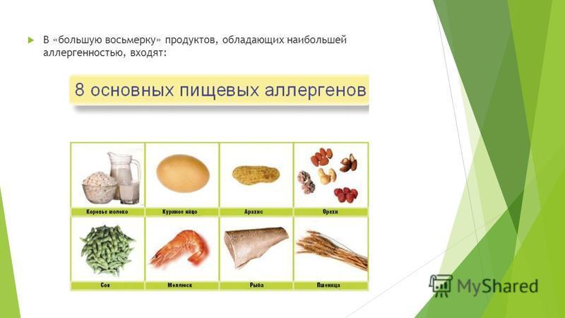 В «большую восьмерку» продуктов, обладающих наибольшей аллергенностью, входят: