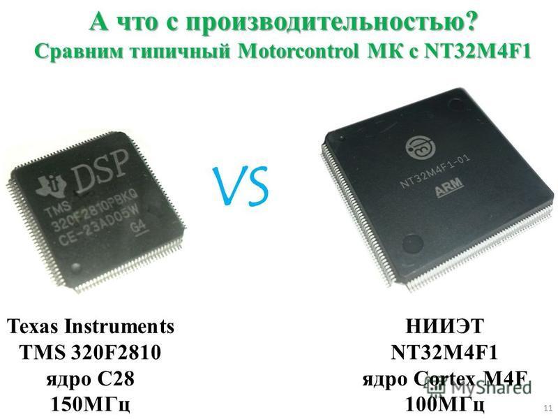 А что с производительностью? Сравним типичный Мotorcontrol МК c NT32M4F1 Texas Instruments TMS 320F2810 ядро C28 150МГц НИИЭТ NT32M4F1 ядро Cortex M4F 100МГц VS 11