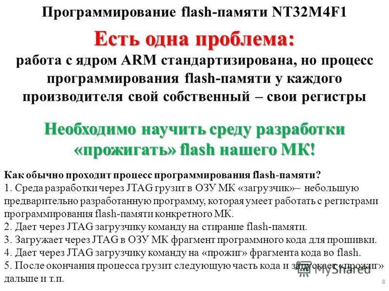 Программирование flash-памяти NT32M4F1 Есть одна проблема: работа с ядром ARM стандартизирована, но процесс программирования flash-памяти у каждого производителя свой собственный – свои регистры Необходимо научить среду разработки «прожигать» flash н