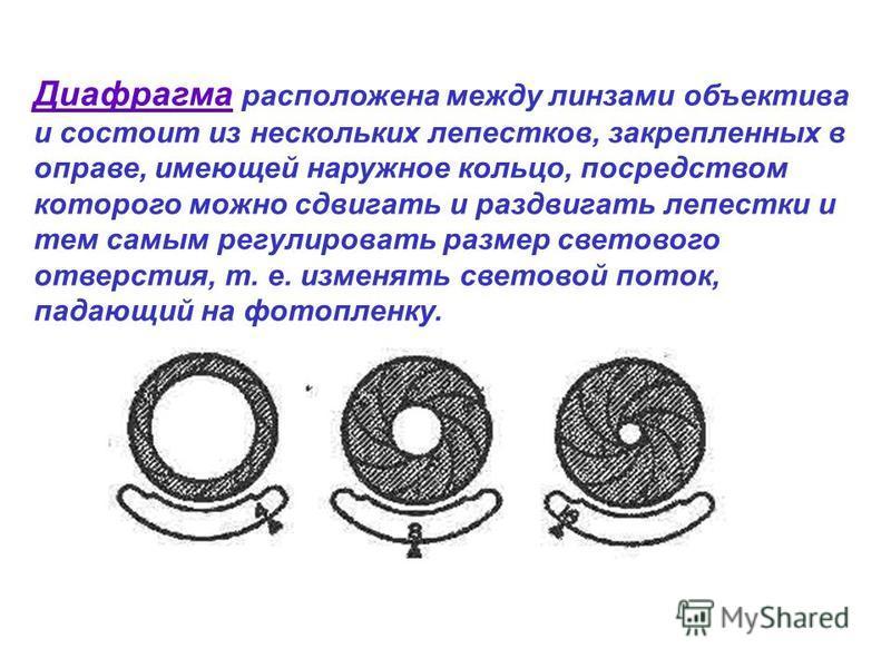 Диафрагма расположена между линзами объектива и состоит из нескольких лепестков, закрепленных в оправе, имеющей наружное кольцо, посредством которого можно сдвигать и раздвигать лепестки и тем самым регулировать размер светового отверстия, т. е. изме