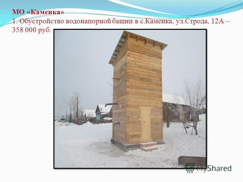 МО «Каменка» 1. Обустройство водонапорной башни в с.Каменка, ул.Строда, 12А – 358 000 руб.