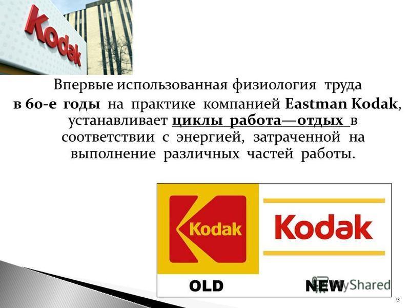 Впервые использованная физиология труда в 60-е годы на практике компанией Eastman Kodak, устанавливает циклы работа отдых в соответствии с энергией, затраченной на выполнение различных частей работы. 13