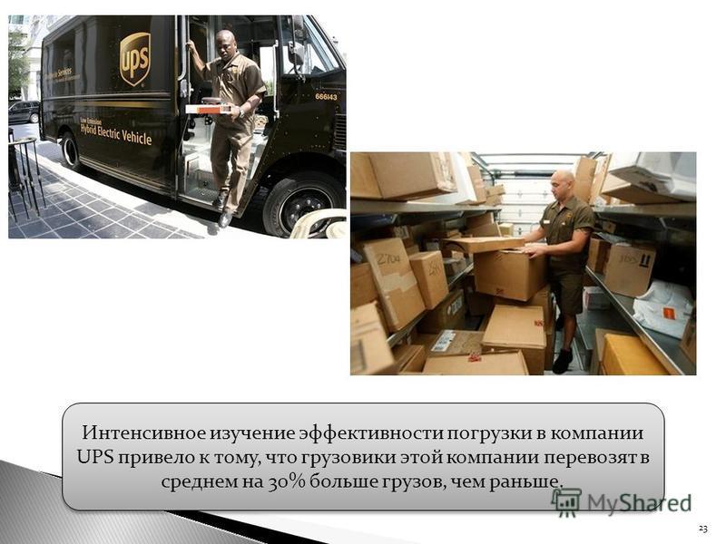 23 Интенсивное изучение эффективности погрузки в компании UPS привело к тому, что грузовики этой компании перевозят в среднем на 30% больше грузов, чем раньше.