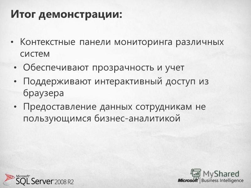 Итог демонстрации: Контекстные панели мониторинга различных систем Обеспечивают прозрачность и учет Поддерживают интерактивный доступ из браузера Предоставление данных сотрудникам не пользующимся бизнес-аналитикой