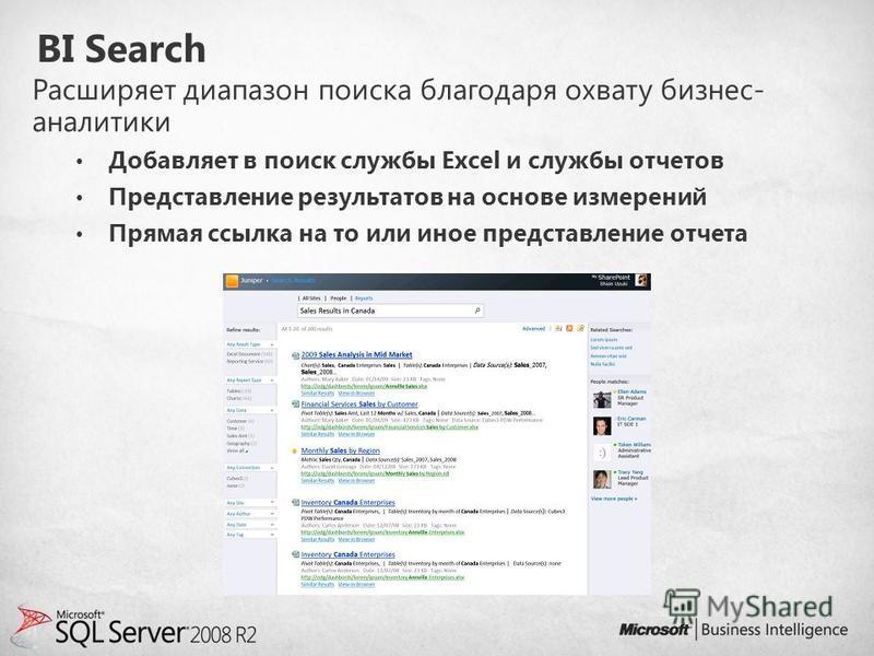 BI Search Расширяет диапазон поиска благодаря охвату бизнес- аналитики Добавляет в поиск службы Excel и службы отчетов Представление результатов на основе измерений Прямая ссылка на то или иное представление отчета