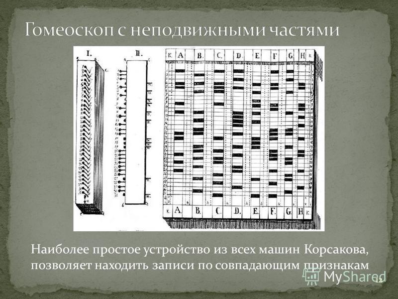 12 Наиболее простое устройство из всех машин Корсакова, позволяет находить записи по совпадающим признакам