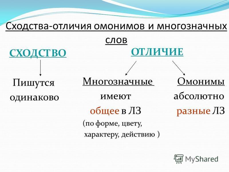 Сходства-отличия омонимов и многозначных слов СХОДСТВО Пишутся одинаково ОТЛИЧИЕ Многозначные Омонимы имеют абсолютно общее в ЛЗ разные ЛЗ (по форме, цвету, характеру, действию )