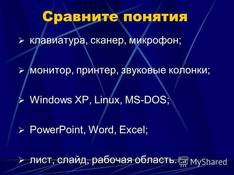 Сравните понятия клавиатура, сканер, микрофон; монитор, принтер, звуковые колонки; Windows XP, Linux, MS-DOS; PowerPoint, Word, Excel; лист, слайд, рабочая область.