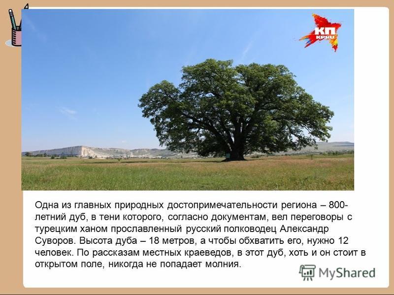 Одна из главных природных достопримечательности региона – 800- летний дуб, в тени которого, согласно документам, вел переговоры с турецким ханом прославленный русский полководец Александр Суворов. Высота дуба – 18 метров, а чтобы обхватить его, нужно