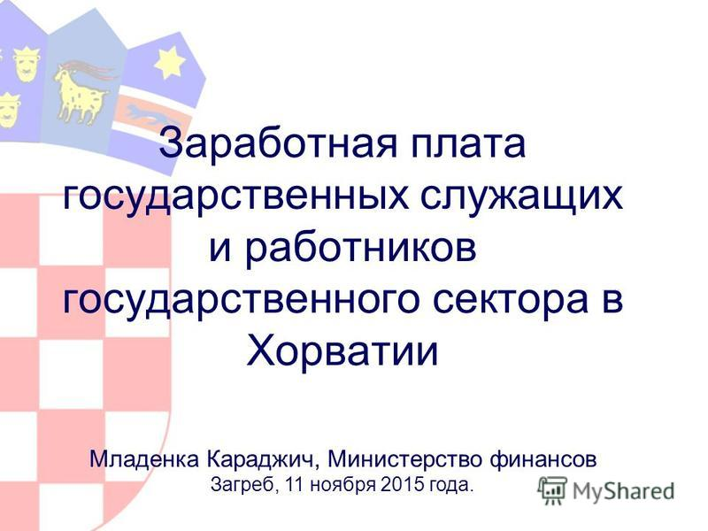Заработная плата государственных служащих и работников государственного сектора в Хорватии Младенка Караджич, Министерство финансов Загреб, 11 ноября 2015 года.