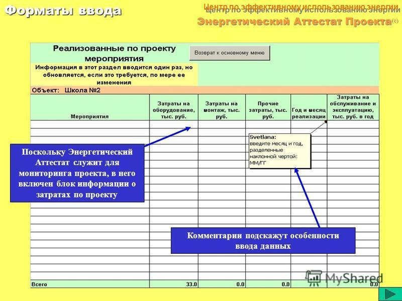 32 Центр по эффективному использованию энергии Энергетический Аттестат Проекта (c) Форматы ввода Объемы потребления ресурсов за месяц, зафиксированные приборами учета, вводятся в программу вручную. В случае временной неисправности прибора следует ука