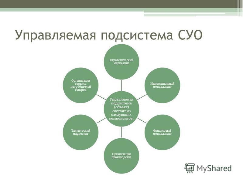 Управляемая подсистема СУО Управляемая подсистема (объект) состоит из следующих компонентов: Стратегический маркетинг Инновационный менеджмент Финансовый менеджмент Организация производства Тактический маркетинг Организация сервиса потребителей товар