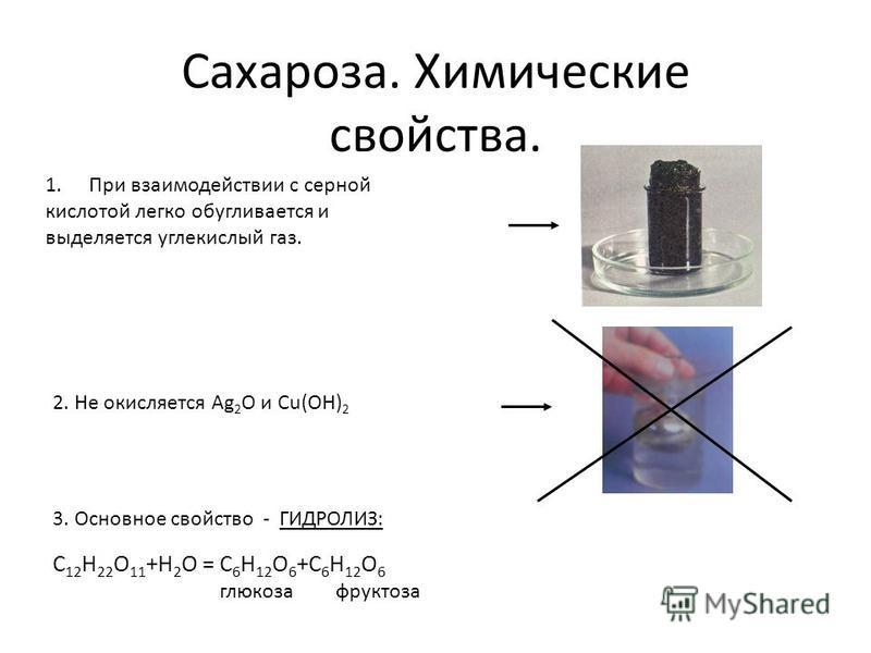 Сахароза. Химические свойства. 1. При взаимодействии с серной кислотой легко обугливается и выделяется углекислый газ. 2. Не окисляется Ag 2 O и Cu(OH) 2 3. Основное свойство - ГИДРОЛИЗ: С 12 Н 22 О 11 +Н 2 О = С 6 Н 12 О 6 +С 6 Н 12 О 6 глюкоза фрук