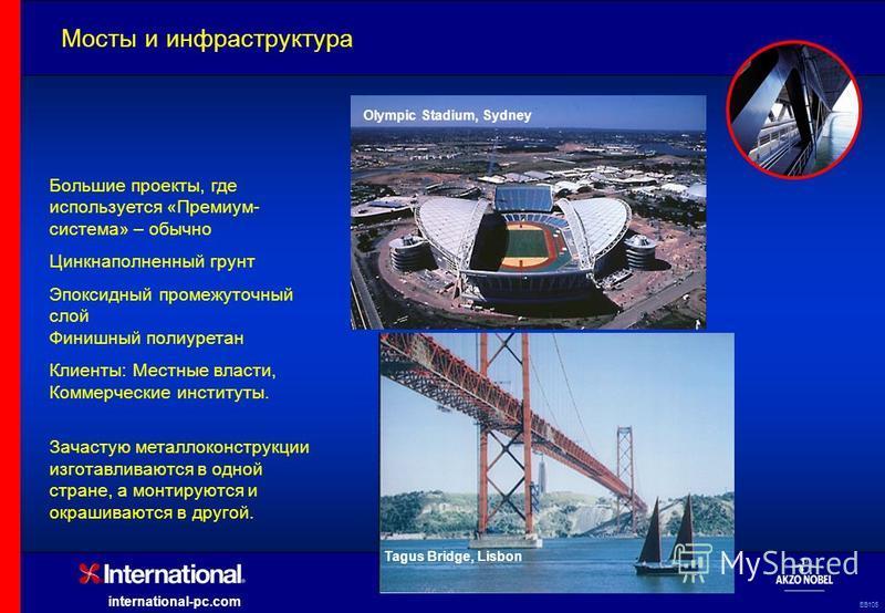 EB105 international-pc.com Мосты и инфраструктура Tagus Bridge, Lisbon Olympic Stadium, Sydney Большие проекты, где используется «Премиум- система» – обычно Цинкнаполненный грунт Эпоксидный промежуточный слой Финишный полиуретан Клиенты: Местные влас