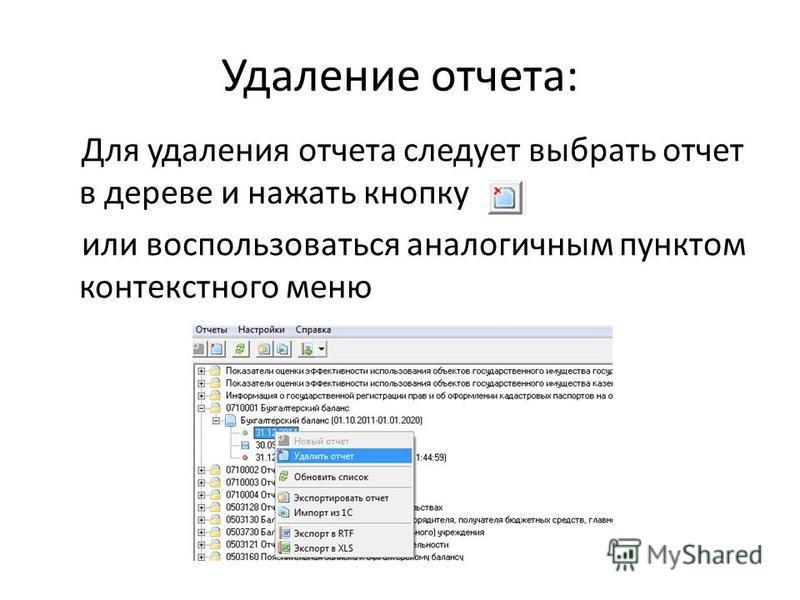 Удаление отчета: Для удаления отчета следует выбрать отчет в дереве и нажать кнопку или воспользоваться аналогичным пунктом контекстного меню