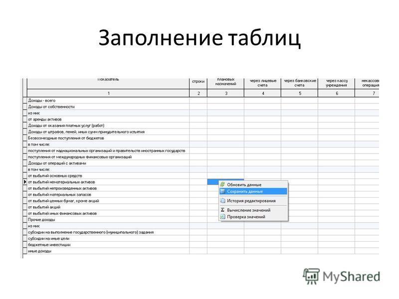 Заполнение таблиц