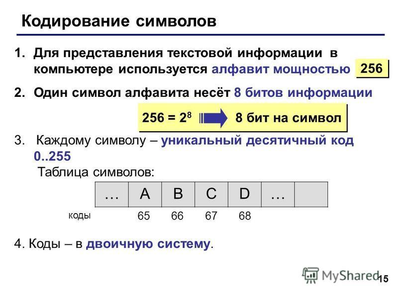 15 Кодирование символов 1. Для представления текстовой информации в компьютере используется алфавит мощностью 2. Один символ алфавита несёт 8 битов информации 3. Каждому символу – уникальный десятичный код 0..255 Таблица символов: 4. Коды – в двоичну