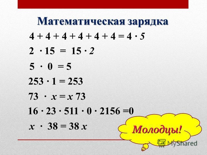 Математическая зарядка 2 15 = 15 2 4 + 4 + 4 + 4 + 4 + 4 = 4 5 5 0 = 5 253 1 = 253 16 23 511 0 2156 =0 73 х = х 73 х 38 = 38 х Молодцы!