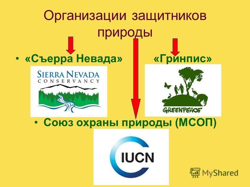 Организации защитников природы «Съерра Невада» «Гринпис» Союз охраны природы (МСОП)