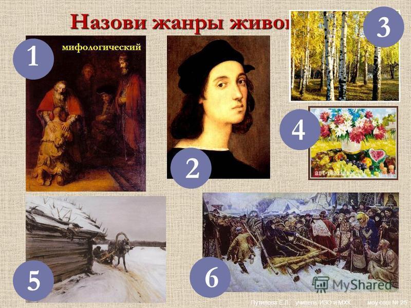 Назови жанры живописи: 1 2 3 4 5 6 мифологический Путилова Е.Л. учитель ИЗО и МХК моу сош 25