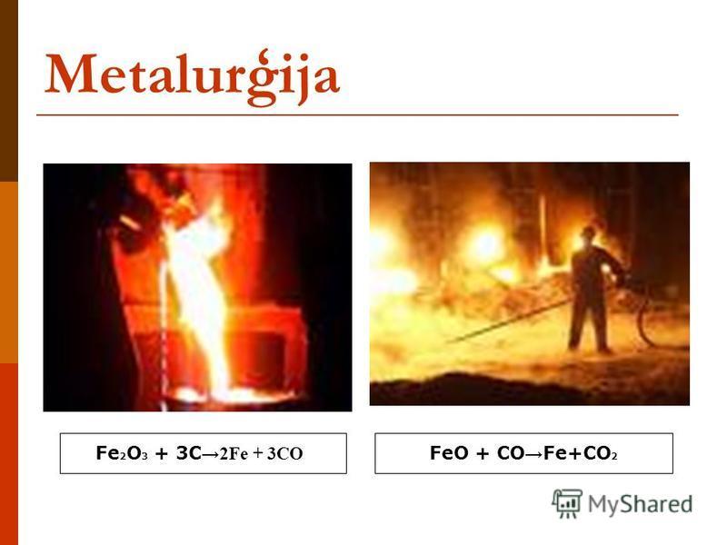 Metalurģija Fe 2 O 3 + 3C 2Fe + 3CO FeO + CO Fe+CO 2