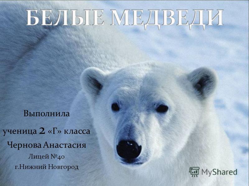 Выполнила ученица 2 «Г» класса Чернова Анастасия Лицей 40 г.Нижний Новгород