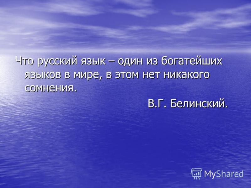 Что русский язык – один из богатейших языков в мире, в этом нет никакого сомнения. В.Г. Белинский. В.Г. Белинский.