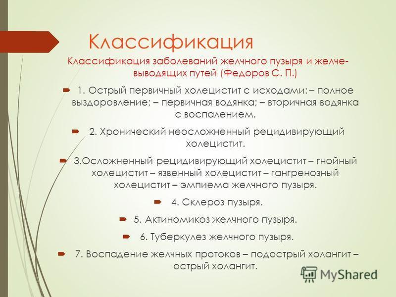Классификация Классификация заболеваний желчного пузыря и желчевыводящих путей (Федоров С. П.) 1. Острый первичный холецистит с исходами: – полное выздоровление; – первичная водянка; – вторичная водянка с воспалением. 2. Хронический неосложненный рец