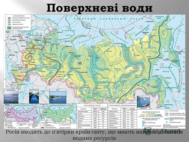 Поверхневі води Росія входить до п'ятірки країн світу, що мають найбільші запаси водних ресурсів