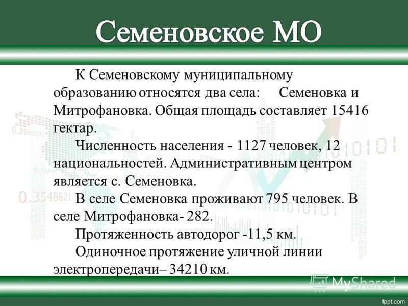 К Семеновскому муниципальному образованию относятся два села: Семеновка и Митрофановка. Общая площадь составляет 15416 гектар. Численность населения - 1127 человек, 12 национальностей. Административным центром является с. Семеновка. В селе Семеновка